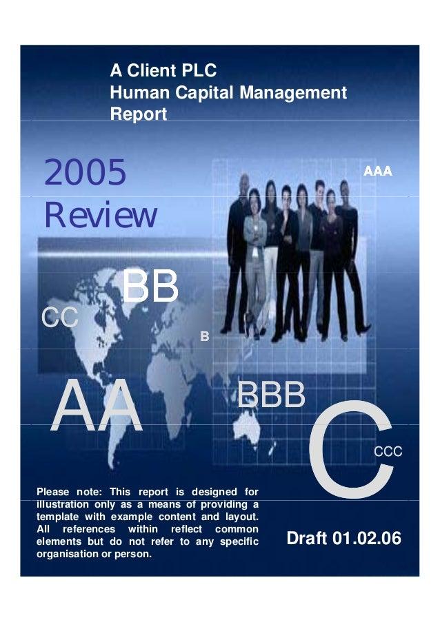 Client Organisation: Barclays A Client PLC Human Capital Management Report AAAAAAAAA p 2005 BBBBBB Review BBBBBB CCCC BB A...
