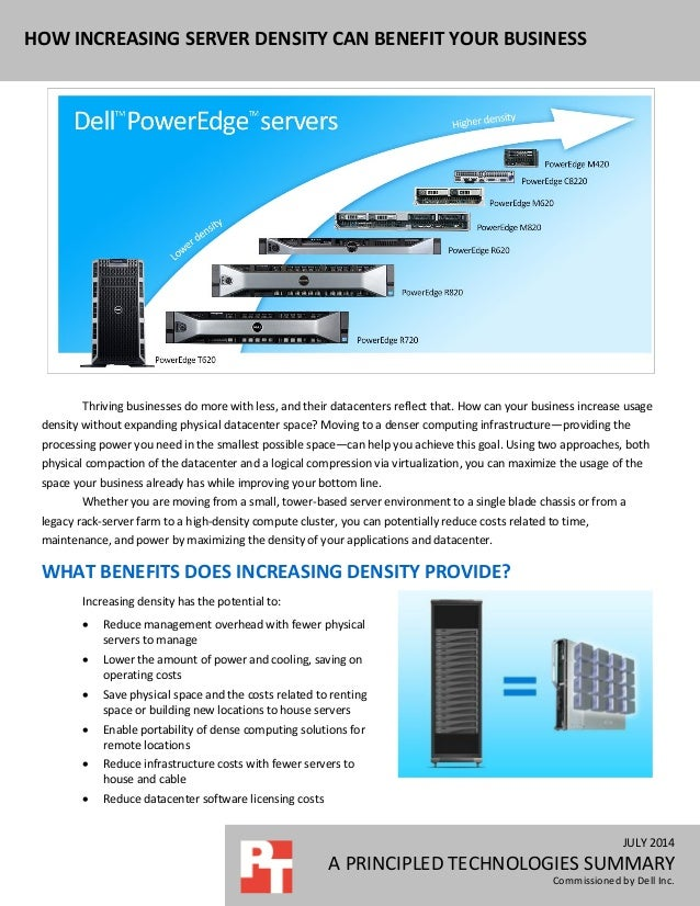 JULY 2014 A PRINCIPLED TECHNOLOGIES SUMMARY Commissioned by Dell Inc. HOW INCREASING SERVER DENSITY CAN BENEFIT YOUR BUSIN...
