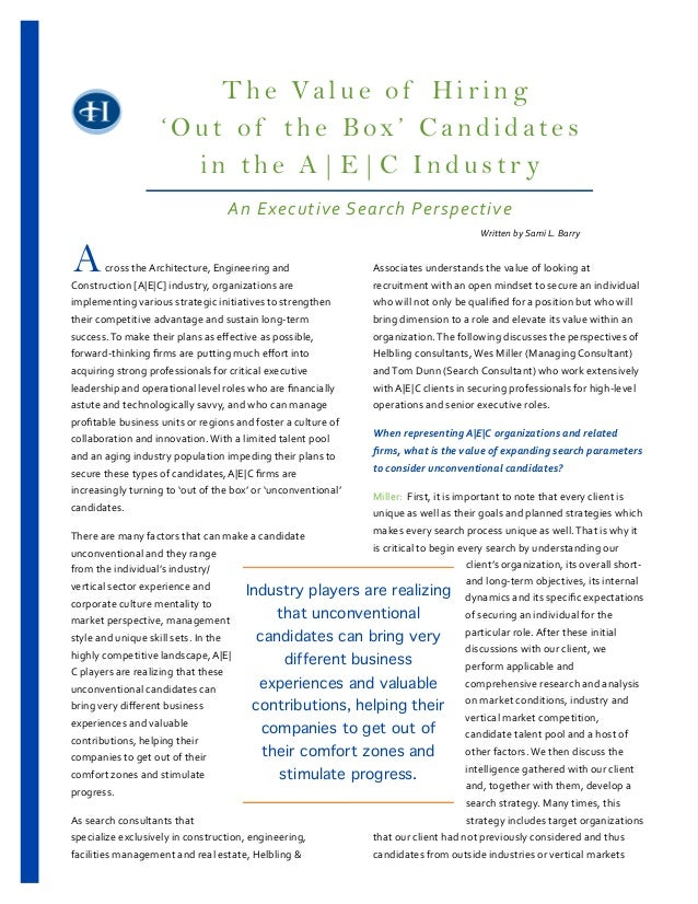 Value of Hiring Out of the Box Candidates in A|E|C industry 2 7 13