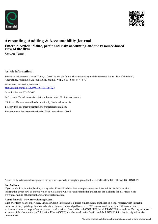 Accounting, Auditing & Accountability JournalEmerald Article: Value, profit and risk: accounting and the resource-basedvie...