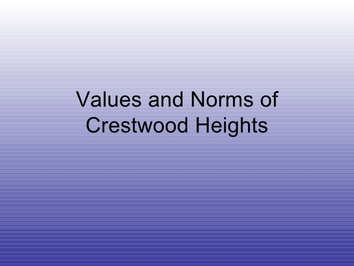 Values And Norms Of Crestwood Heights
