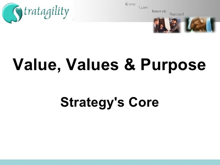 Value, Values & Purpose   Strategy's Core