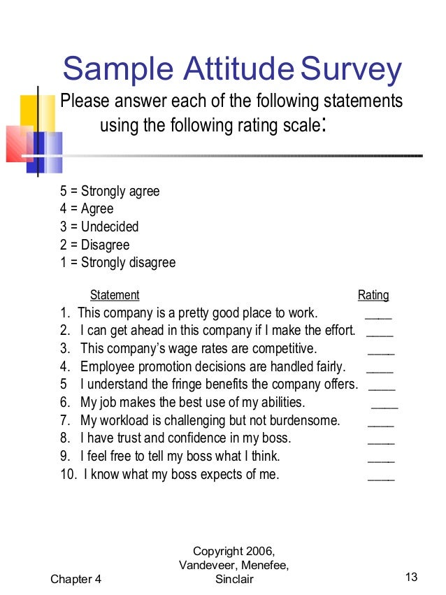 Values attitude for Attitude survey template