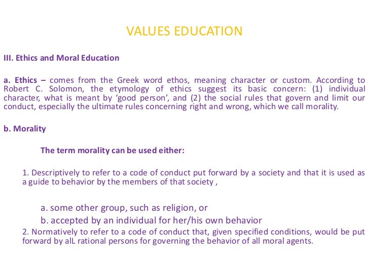 high moral values definition