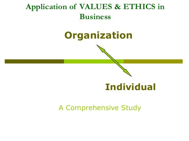 Application of VALUES & ETHICS in Business  Organization  Individual A Comprehensive Study