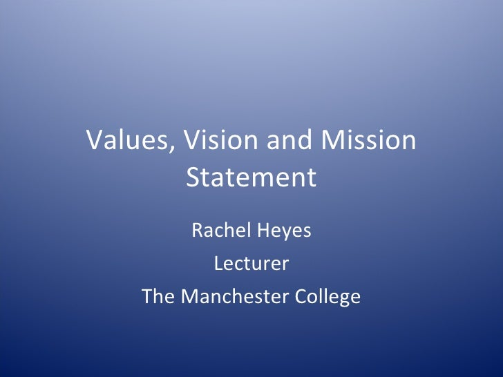 Values, Vision and Mission Statement Rachel Heyes Lecturer The Manchester College