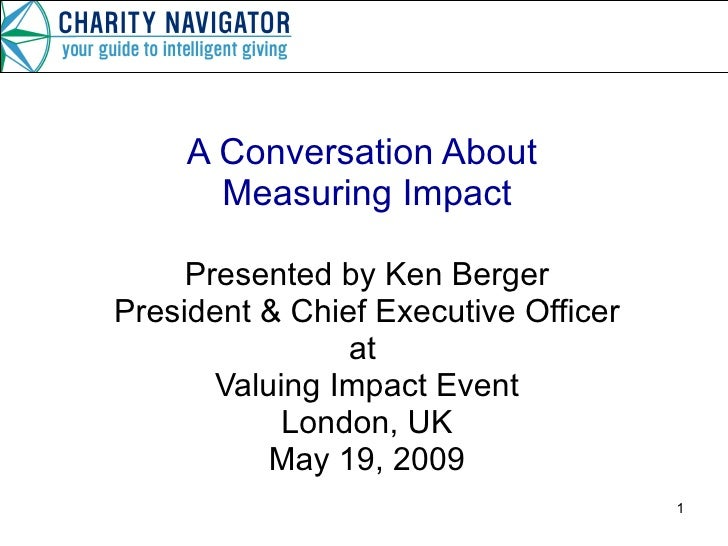 Valuing Impact Presentation, May 2009