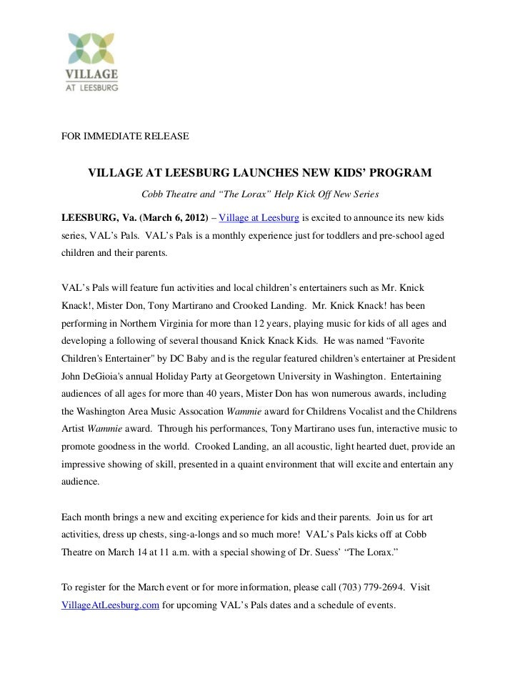 VAL's Pals: Village at Leesburg Launches New Kids' Program