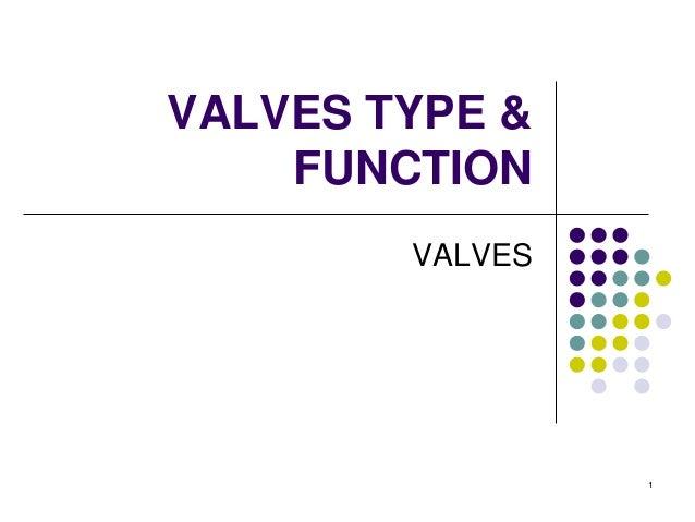 1 VALVES TYPE & FUNCTION VALVES