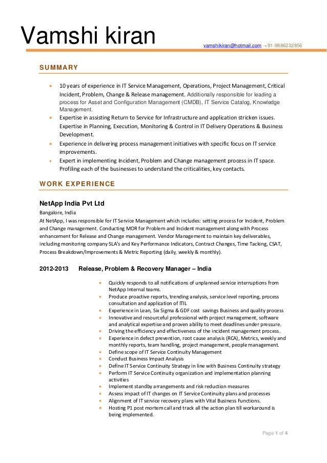 Vamshi kiran  vamshikiran@hotmail.com -+91-9886232856  S U M M AR Y   10 years of experience in IT Service Management, Op...