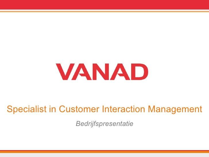 VANAD Bedrijfspresentatie