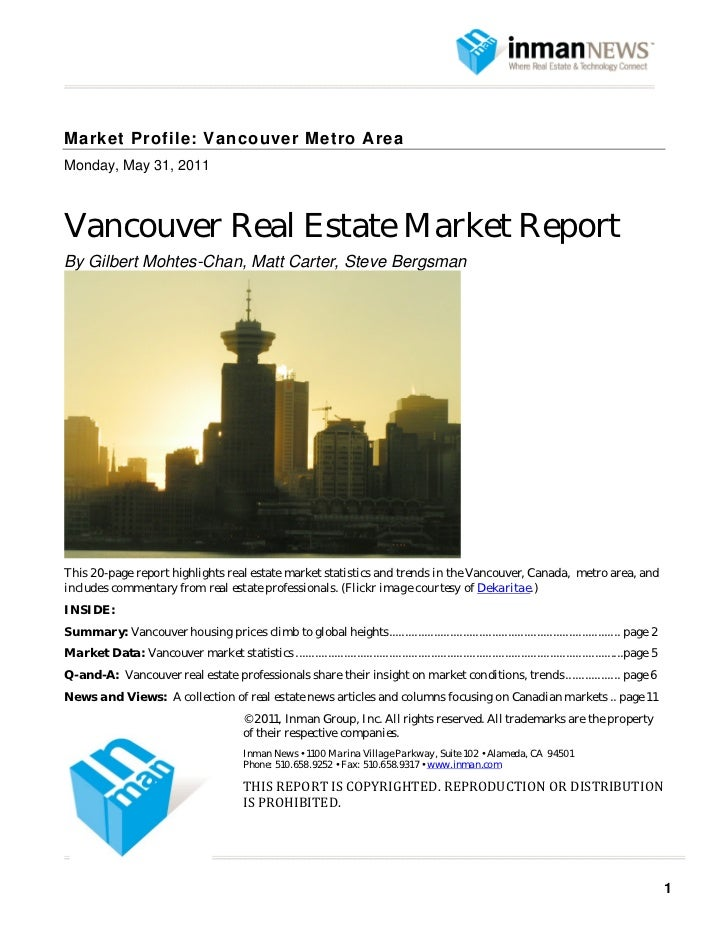 Vancouver real estate market report from Inman News