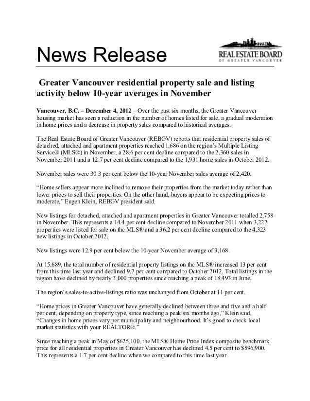 Vancouver real estate november 2012 stats package rebgv