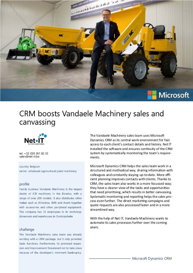 CRM boosts Vandaele Machinery sales and canvassing