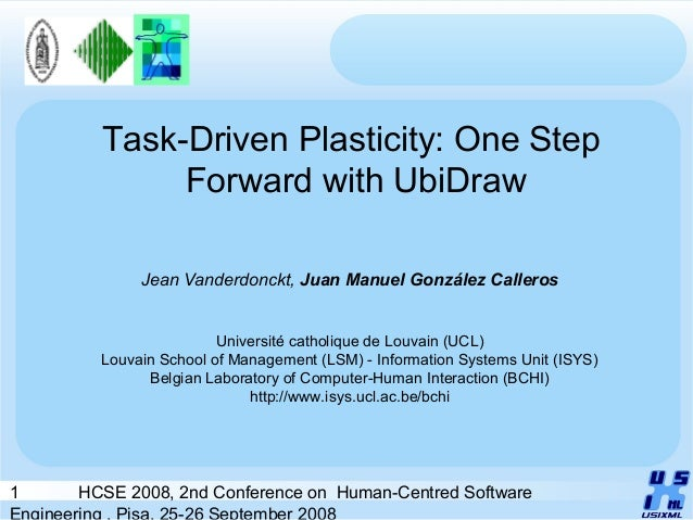 1 HCSE 2008, 2nd Conference on Human-Centred Software Engineering , Pisa, 25-26 September 2008 Task-Driven Plasticity: One...