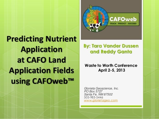 Predicting Nutrient Application at CAFO Land Application Fields Using CAFOweb