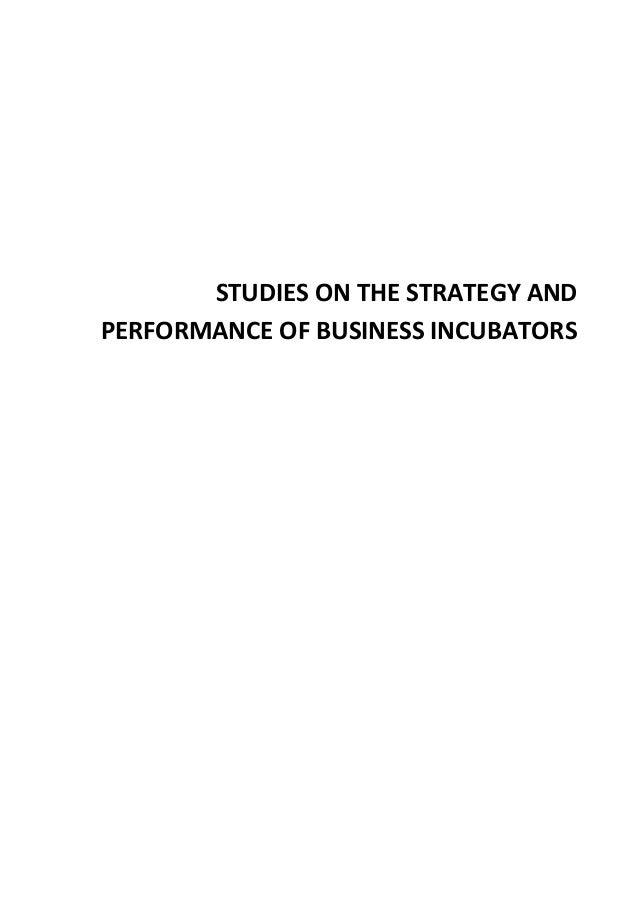 STUDIES ON THE STRATEGY AND PERFORMANCE OF BUSINESS INCUBATORS