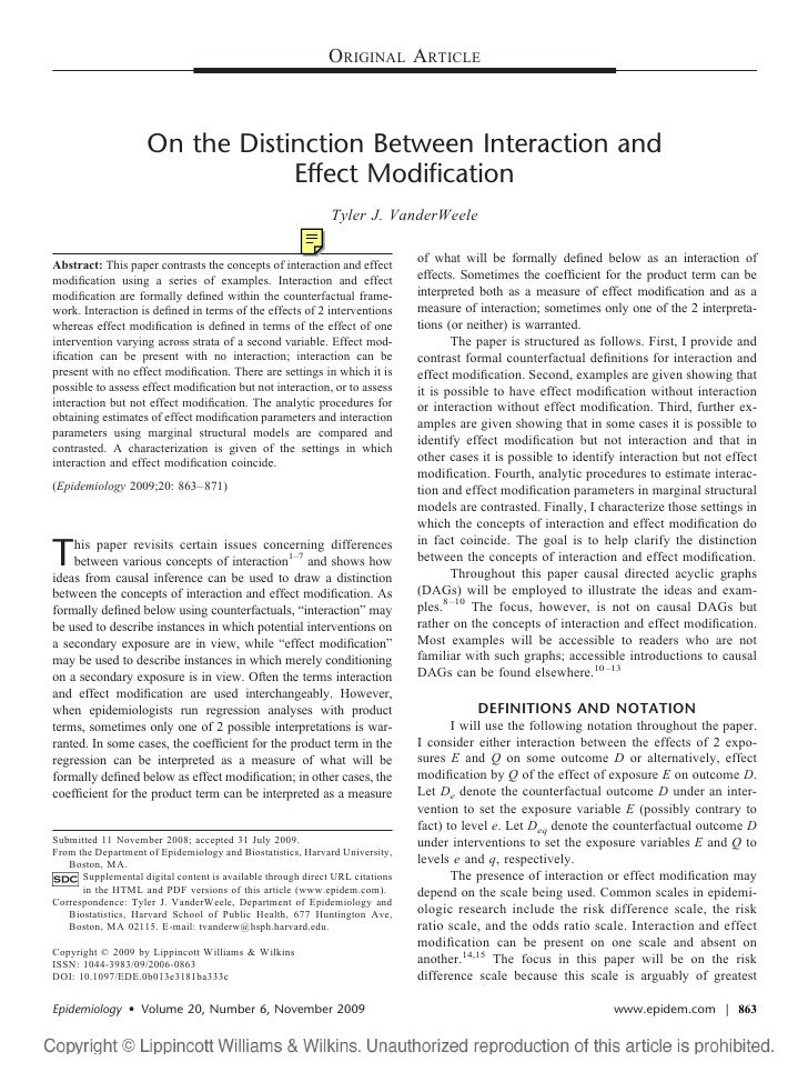 ORIGINAL ARTICLE                         On the Distinction Between Interaction and                                  Effec...