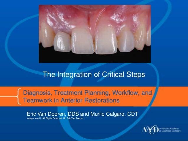 Diagnosis, Treatment Planning, Workflow, and Teamwork in Anterior Restorations Eric Van Dooren, DDS and Murilo Calgaro, CD...