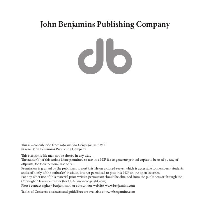 John Benjamins Publishing CompanyThis is a contribution from Information Design Journal 18:2© 2010. John Benjamins Publish...