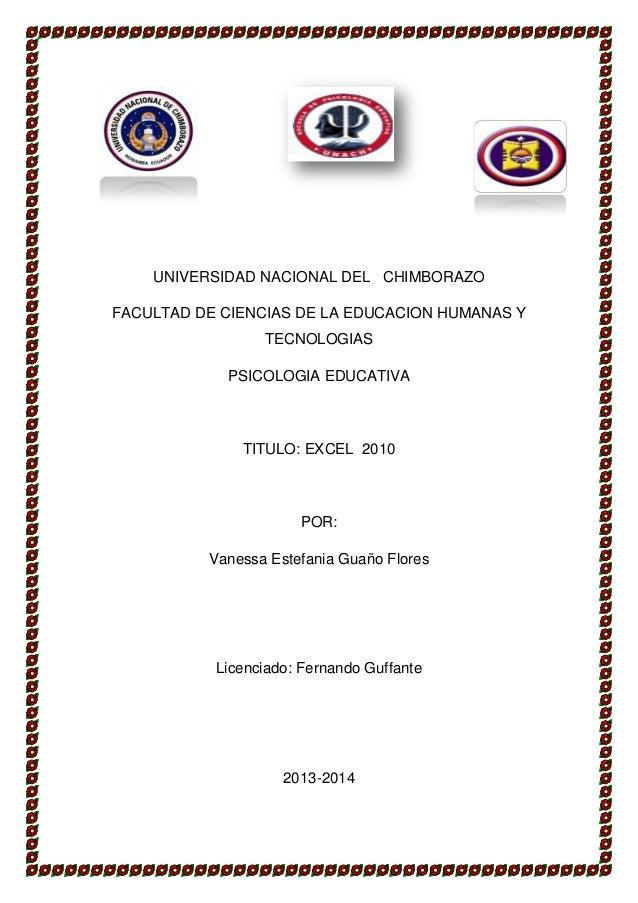 UNIVERSIDAD NACIONAL DEL CHIMBORAZO FACULTAD DE CIENCIAS DE LA EDUCACION HUMANAS Y TECNOLOGIAS PSICOLOGIA EDUCATIVA  TITUL...