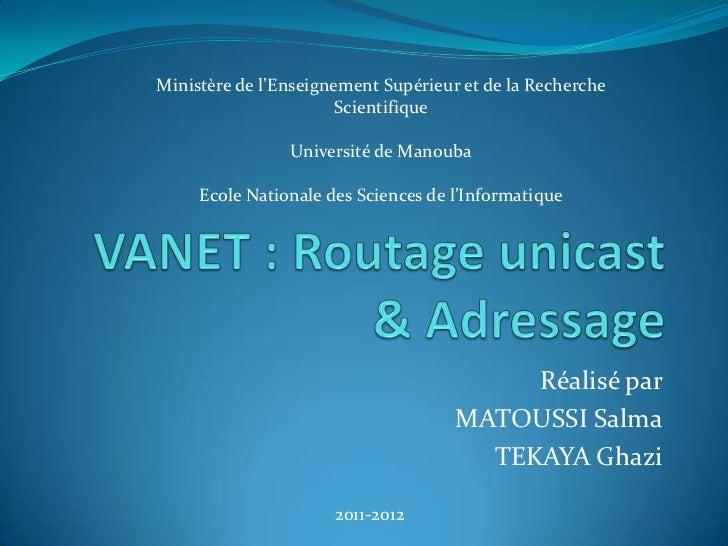 Ministère de l'Enseignement Supérieur et de la Recherche                       Scientifique                Université de M...