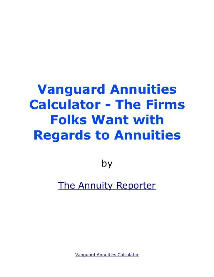 Vanguard Annuities Calculator