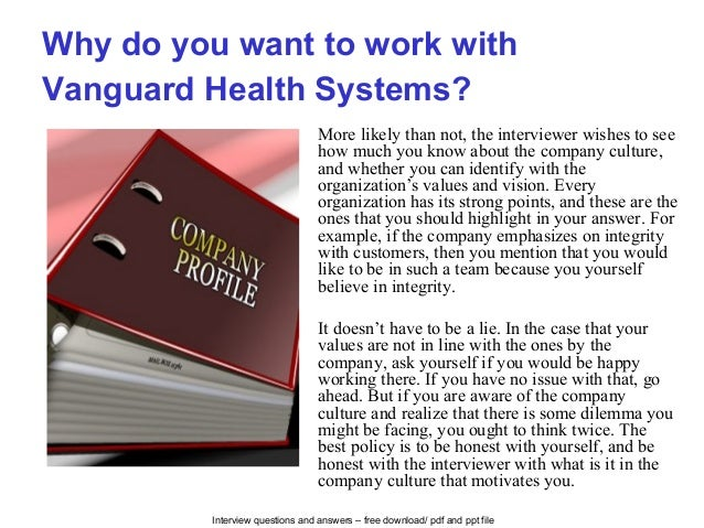 Vanguard health systems interview questions and answers