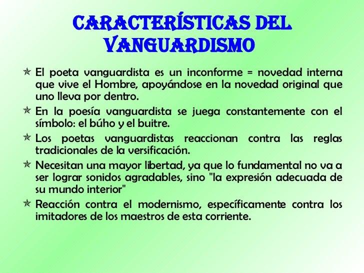 cuentos del vanguardismo La década de 1920 a 1930 atestigua estos primeros intentos de escribir cuentos y novelas cuyo lenguaje  características del vanguardismo.