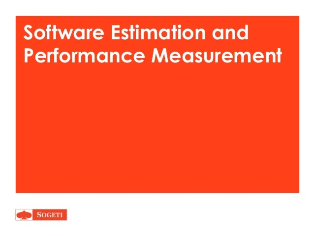 Software Estimating and Performance Measurement
