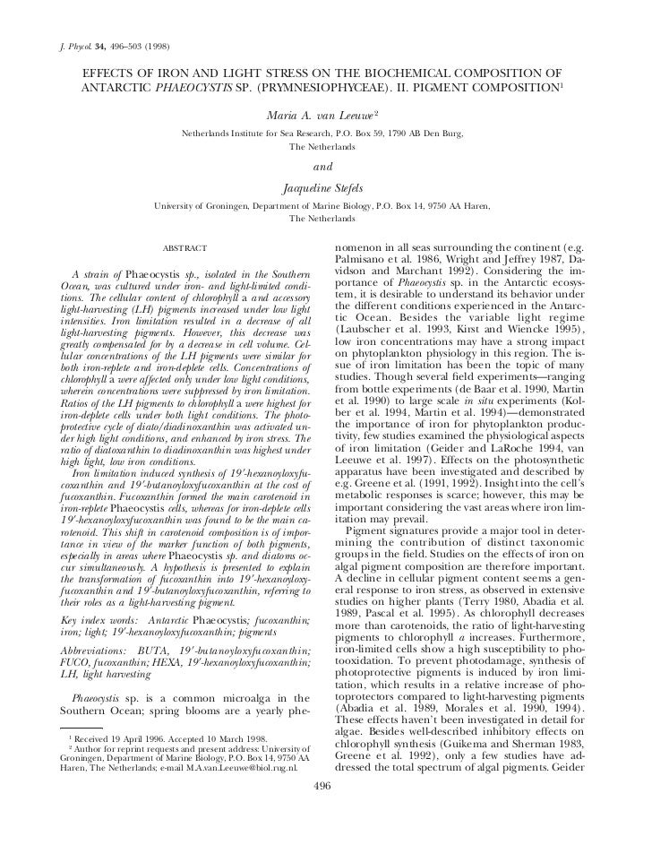 J. Phycol. 34, 496–503 (1998)      EFFECTS OF IRON AND LIGHT STRESS ON THE BIOCHEMICAL COMPOSITION OF      ANTARCTIC PHAEO...