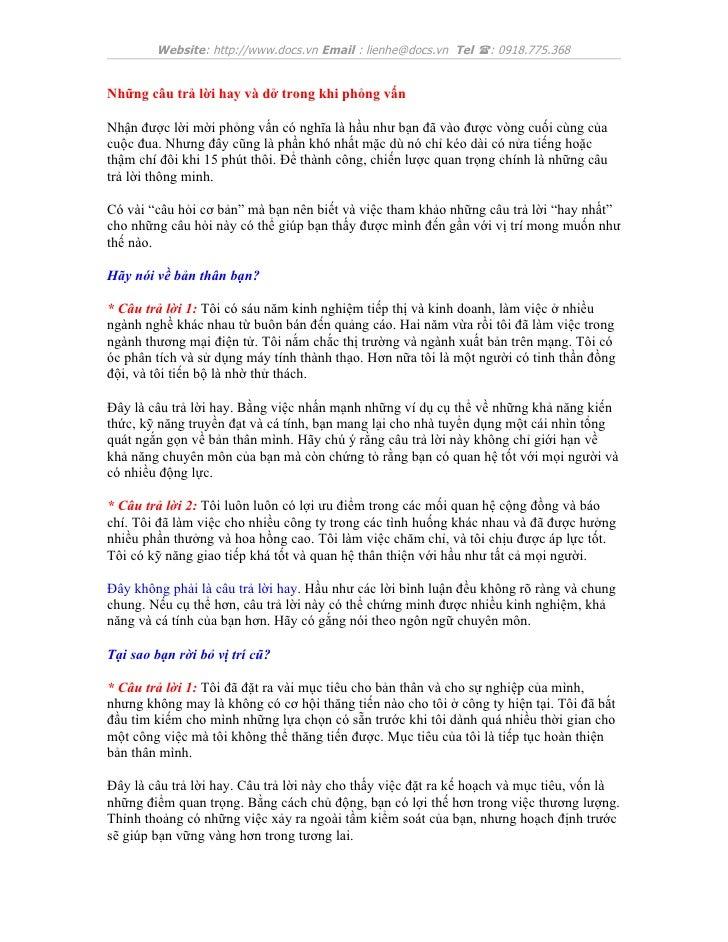 Website: http://www.docs.vn Email : lienhe@docs.vn Tel (: 0918.775.368Những câu trả lời hay và dở trong khi phỏng vấnNhận ...