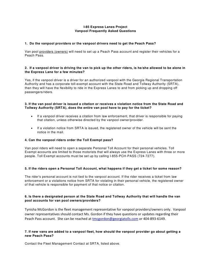 Vanpool I85 Express Lanes FAQ