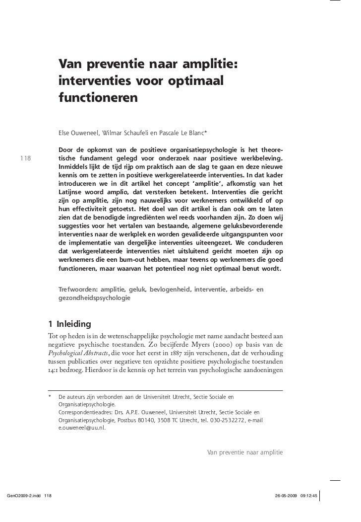 Van preventie naar amplitie:          interventies voor optimaal          functioneren          Else Ouweneel, Wilmar Scha...