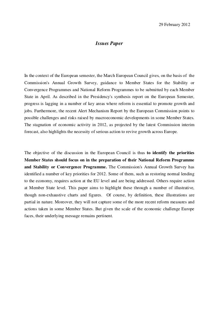 29 February 2012                                         Issues PaperIn the context of the European semester, the March Eu...