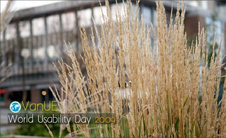 World Usability Day 2009 - VanUE