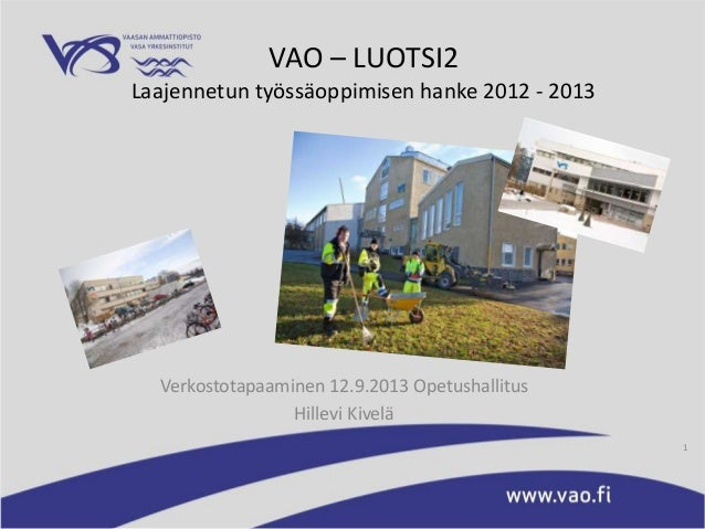 VAO – LUOTSI2 Laajennetun työssäoppimisen hanke 2012 - 2013 Verkostotapaaminen 12.9.2013 Opetushallitus Hillevi Kivelä 1