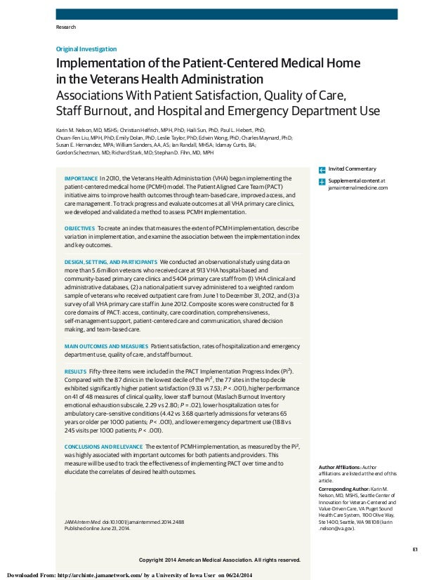 Copyright 2014 American Medical Association. All rights reserved. Implementation of the Patient-Centered Medical Home in t...