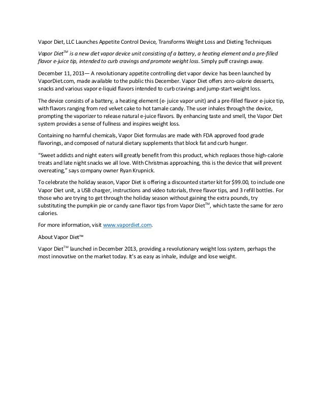 Vapor diet press release