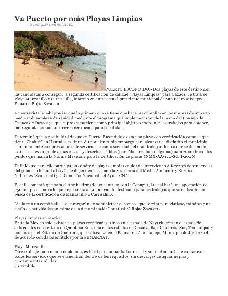 Va Puerto por más Playas Limpias        GUADALUPE HERNÁNDEZ                                                  PUERTO ESCOND...