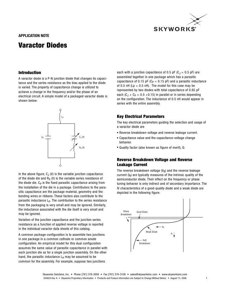 Varactor Diode Symbol Varactor Diode