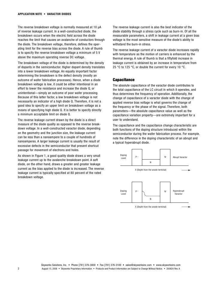 Varactor Diode Construction in a Well Constructed Diode