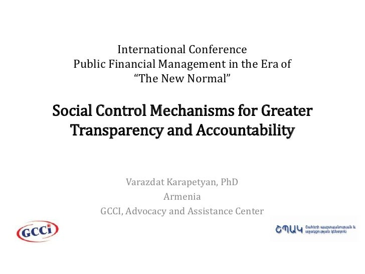 """International ConferencePublic Financial Management in the Era of """"The New Normal""""Social Control Mechanisms for Greater Tr..."""