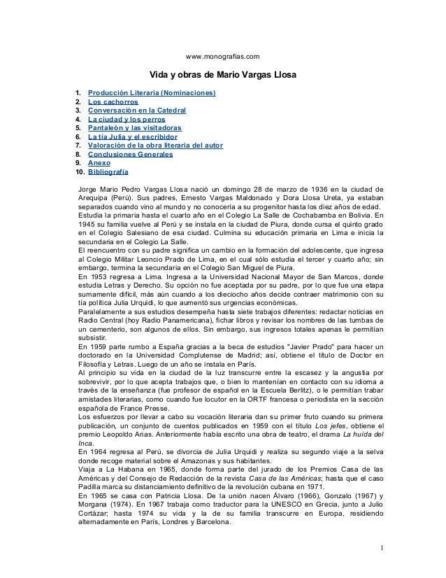 www.monografias.comVida y obras de Mario Vargas Llosa1. Producción Literaria (Nominaciones)2. Los cachorros3. Conversación...