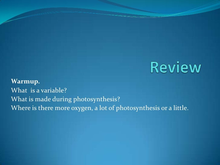 Review<br />Warmup. <br />What  is a variable?<br />What is made during photosynthesis?<br />Where is there more oxygen, a...