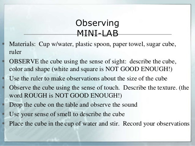 Observing MINI-LAB  Materials: Cup w/water, plastic spoon, paper towel, sugar cube, ruler  OBSERVE the cube using the se...