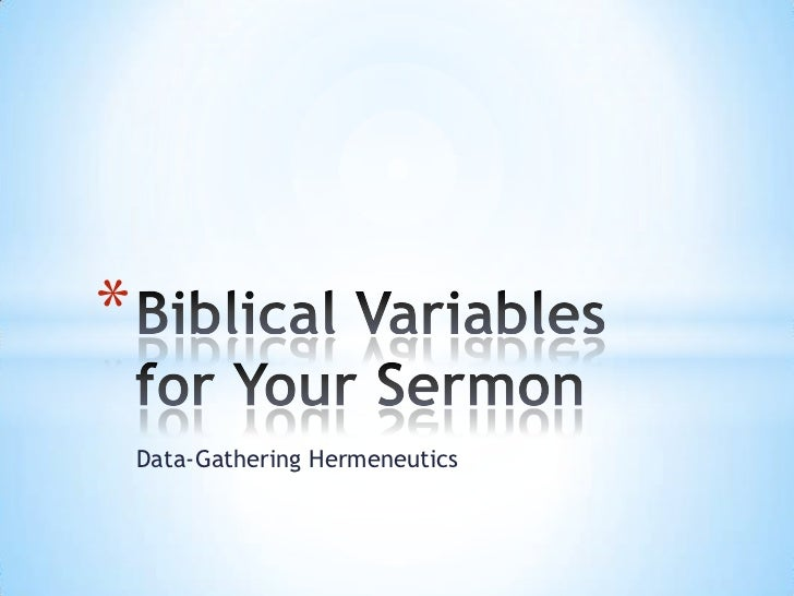 Variables for sermon