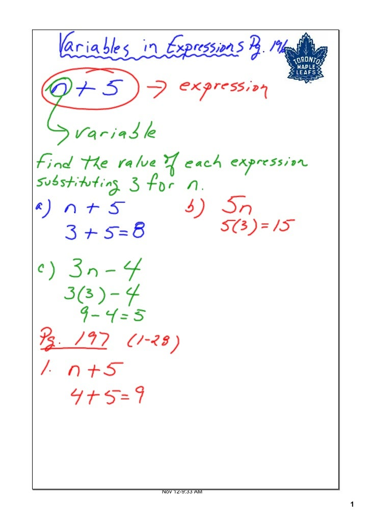 Variables In Expressions