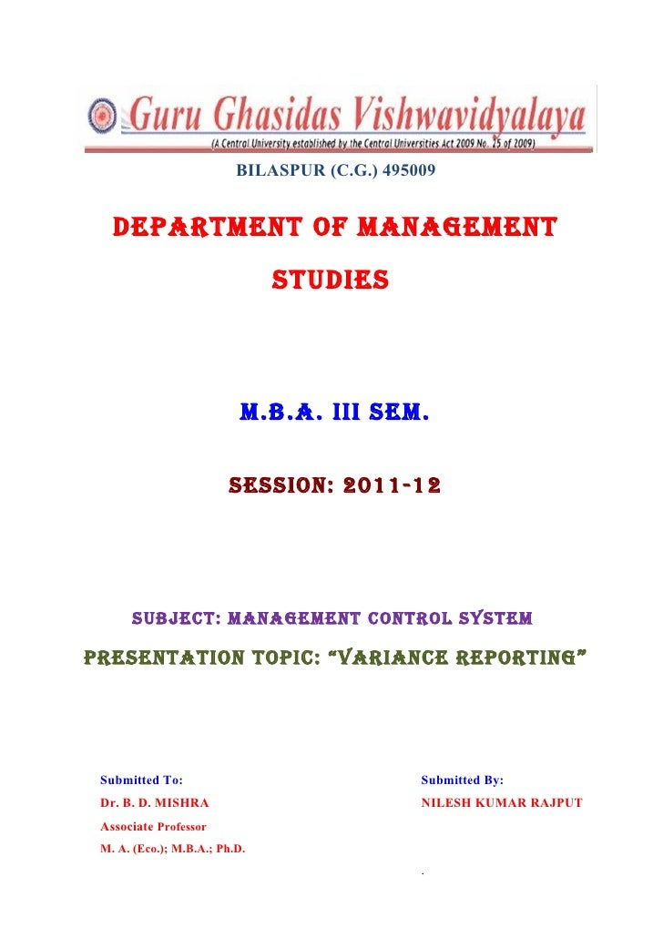 BILASPUR (C.G.) 495009   DEPARTMENT OF MANAGEMENT                               STUDIES                           M.B.A. I...