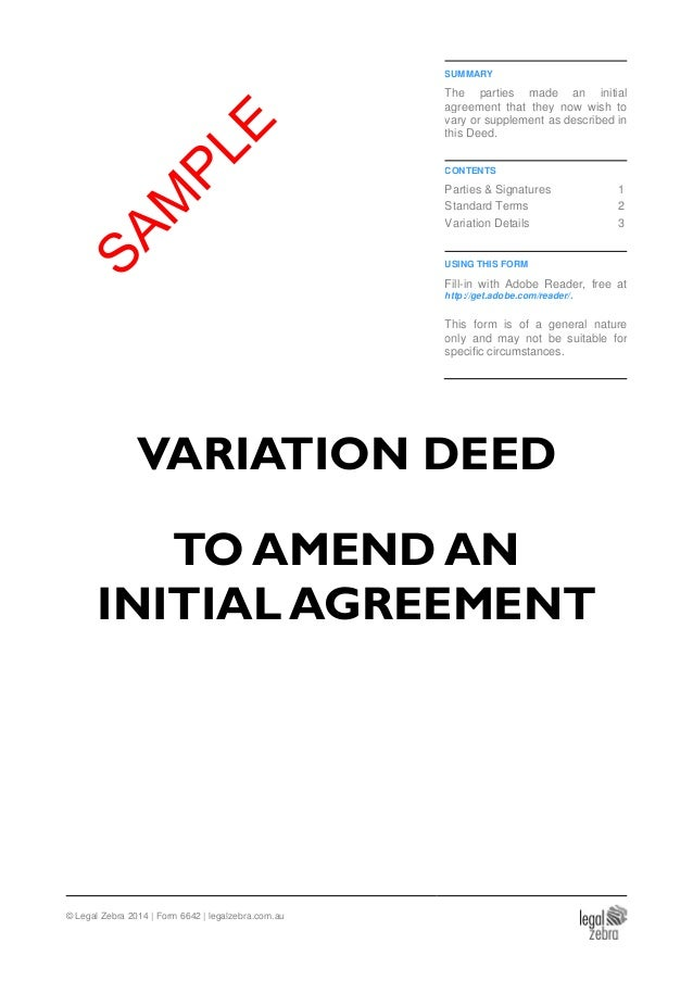 Variation Deed (To Amend an Initial Agreement) Template